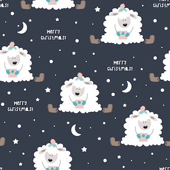 帽子をかぶったかわいい羊。星、雪、帽子、雪片。