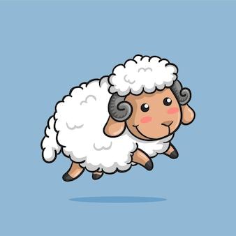 Симпатичные овцы прыгают со счастливой улыбкой в мультяшном стиле