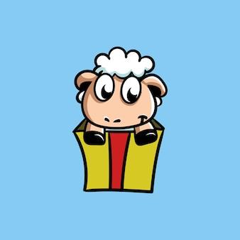 Cute sheep mascot in the gift box