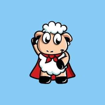 Cute sheep mascot is a superhero
