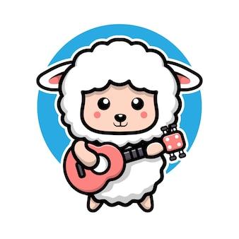 Cute sheep playing guitarcartoon character  animal concept illustration