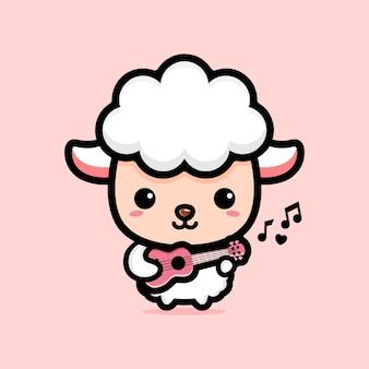 Милая овца играет на гавайской гитаре