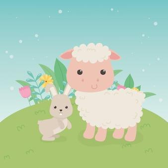 Cute sheep and rabbit animals farm characters