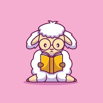 Симпатичные овцы, читающие книгу иллюстрации шаржа