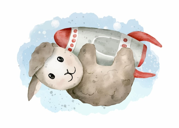 Cute sheep on the rocket watercolor