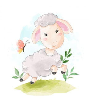 Cute sheep running on the field illustration
