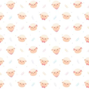 かわいい羊のシームレスな繰り返しパターン、壁紙、かわいいシームレスパターン