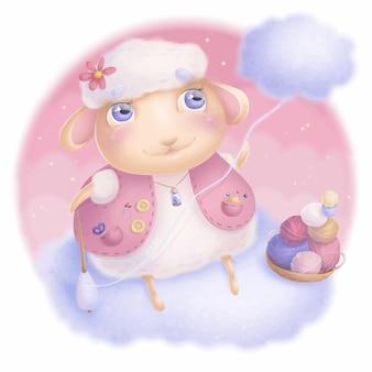 編み物イラストと雲の上に座っているかわいい羊