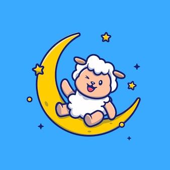月に座っているかわいい羊漫画アイコンイラスト。分離された動物の宗教アイコンコンセプト。フラットな漫画のスタイル。