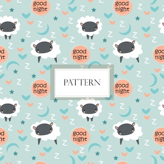 Cute sheep , star and moon seamless pattern