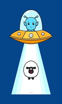 Cute sheep sucked in by alien ufo cartoon icon illustration. design isolated flat cartoon style
