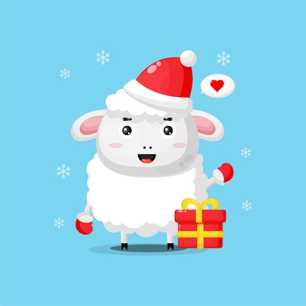 크리스마스 모자를 쓰고 귀여운 양