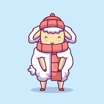 スカーフとビーニーの漫画イラストを身に着けているかわいい羊