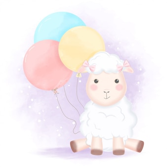 Cute sheep with balloon hand drawn cartoon illustration