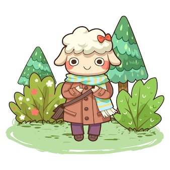 Cute sheep with forest vector illustration
