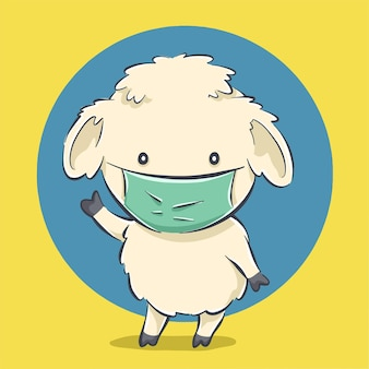Симпатичные овцы с маской мультфильм значок иллюстрации