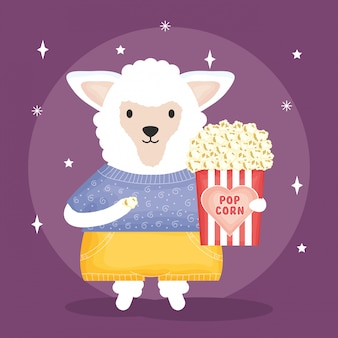 Cute sheep with pop corn character