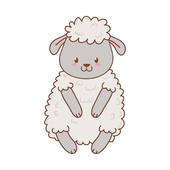Cute sheep woodland character