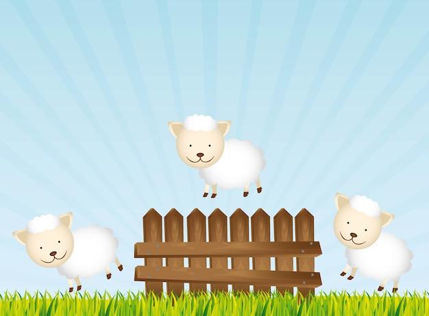 Cute sheeps over landscape background