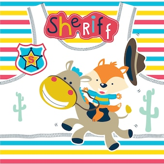Cute sheriff cartoon on funny horse