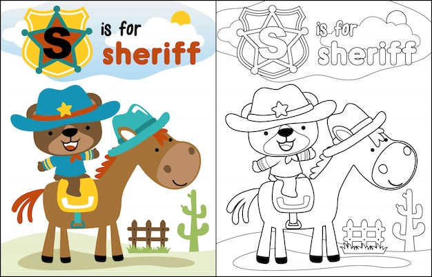 Cute sheriff cartoon riding horse