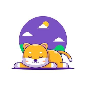 Cute shiba cartoon vector illustration. world animal day concept