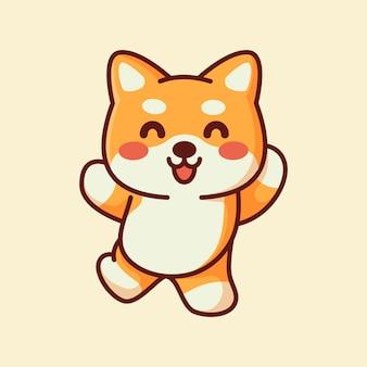 愛らしいポーズジャンプをしているかわいい柴犬