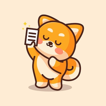 Cute shiba dog holding up report paper