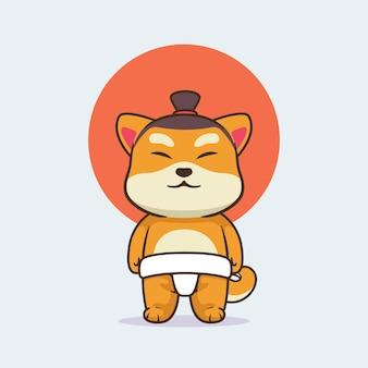 相撲の衣装を着たかわいい柴犬