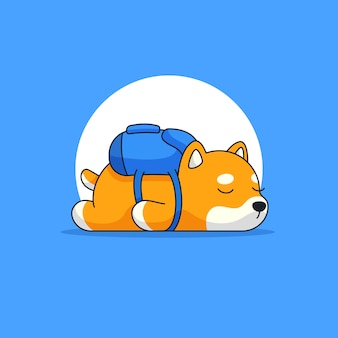 Cute shiba dog slee with wearing school bag outline mascot illustration