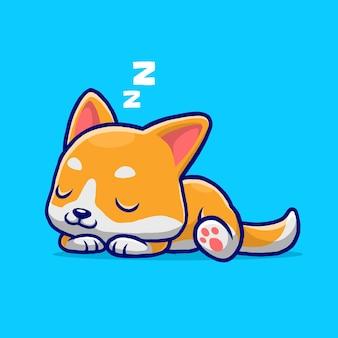 귀여운 시바 강아지 잠자는 만화 파란색 배경에 고립.
