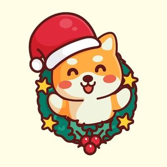 クリスマスの帽子とかわいい柴犬