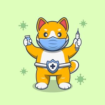 注射器とワクチンバイアルを保持し、マスクを着用してかわいい柴犬。フラット漫画スタイルのプレミアムベクトル。