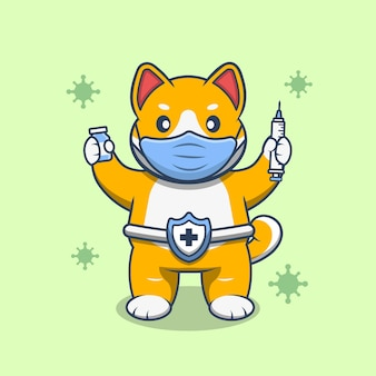 Cute shiba holding syringe and vaccine vial and wear a mask. flat cartoon style premium vector.