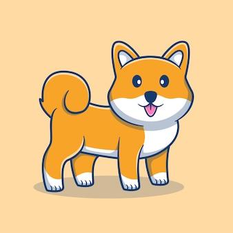 귀여운 shiba inu 만화 그림. 귀여운 강아지 마스코트 로고. 동물 만화 개념입니다. 동물, 애완 동물 가게, 애완 동물 로고, 제품에 적합한 플랫 만화 스타일.