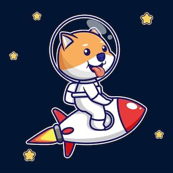 ロケットが飛んでいるかわいい柴犬のデザイン