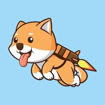 ジェットパックでかわいい柴犬のデザイン