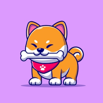 Cute shiba inu dog bite bone cartoon illustration.
