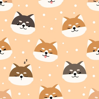 Cute shiba inu dog cartoon doodle seamless pattern