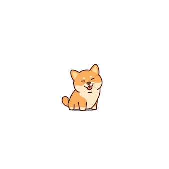 Cute shiba inu dog cartoon icon