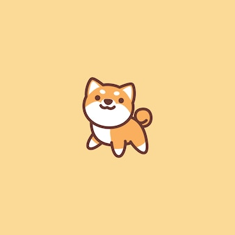 Cute shiba inu dog cartoon icon
