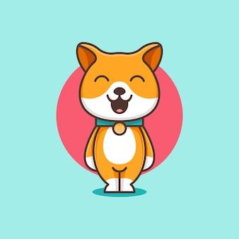 귀여운 시바 이누 개 만화 삽화