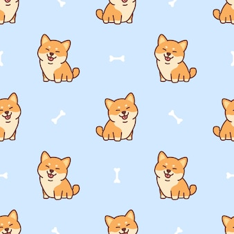 Cute shiba inu dog cartoon seamless pattern,illustration