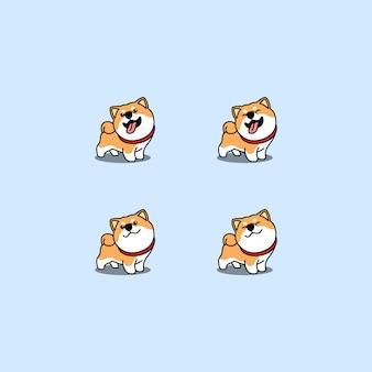 Cute shiba inu dog cartoon set