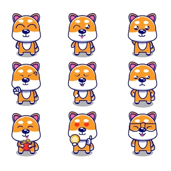 Cute shiba inu dog cartoon with different expression set