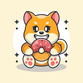 ドーナツ漫画を食べるかわいい柴犬