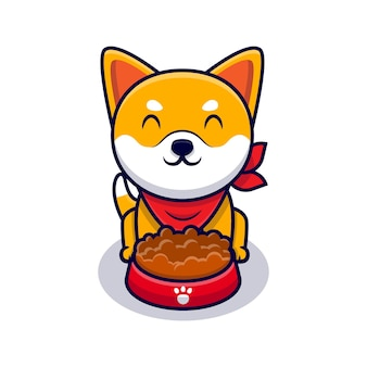 Cute shiba inu dog eating food cartoon icon illustration