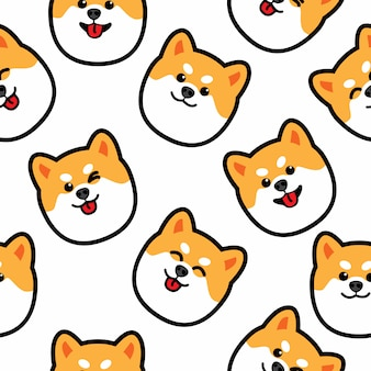 Cute shiba inu dog face seamless pattern