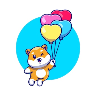 Милая собака сиба-ину, плавающая с воздушным шаром