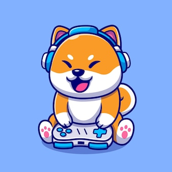 Cute shiba inu dog gaming cartoon icon illustration.